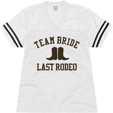 Team Bride Last Rodeo Junior Fit Augusta Replica Football Jersey