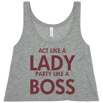 Act Like A Lady... Misses Bella Flowy Boxy Lightweight Crop Tank
