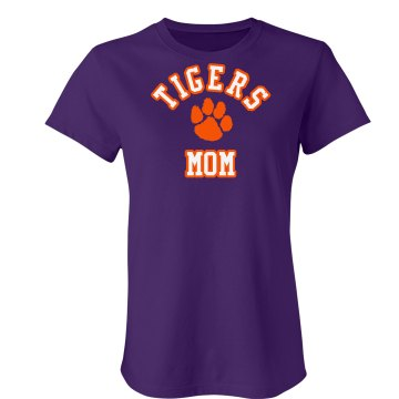 Tigers Mom Tee Junior Fit Bella Sheer Longer Length Rib Tee