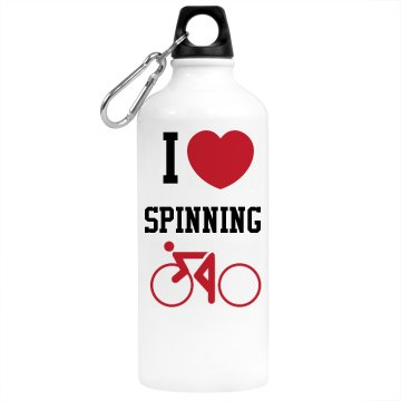 I Heart Spinning Aluminum Water Bottle