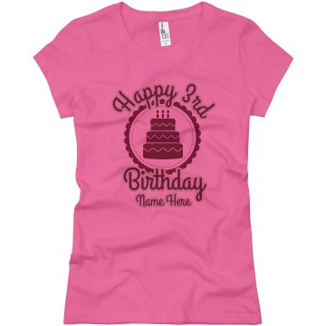 Happy 3rd Birthday Megan Junior Fit Basic Bella Favorite Tee