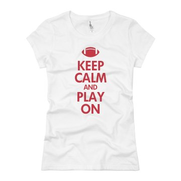 Keep Calm &amp; Play On Junior Fit Brightline 3&#x2F;4 Sleeve Jersey Tee