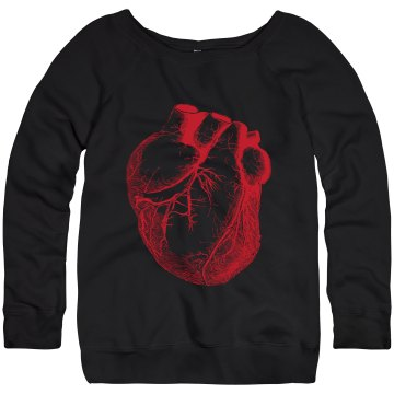 Vintage Heart Design Junior Fit Bella Triblend Slouchy Wideneck Sweatshirt