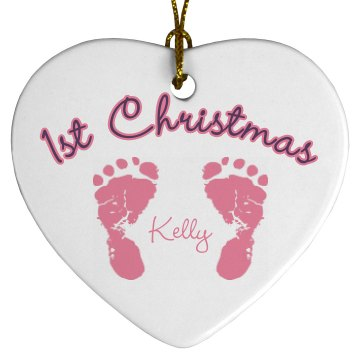 Kelly&#x27;s 1st Christmas Porcelain Heart Ornament
