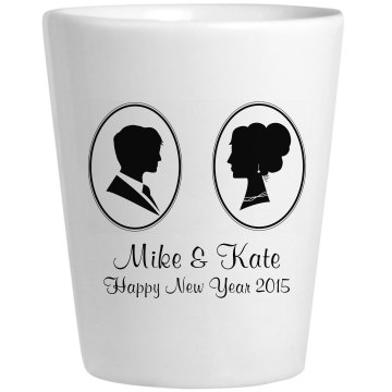 Couple's New Year's Shot Ceramic Shotglass