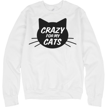 Crazy for Cats Unisex Hanes Crew Neck Sweatshirt