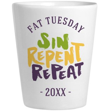 Mardi Gras Fat Shot Ceramic Shotglass