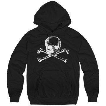 Skull and Bones Hoodie Unisex Hanes Ultimate Cotton Heavyweight Hoodie