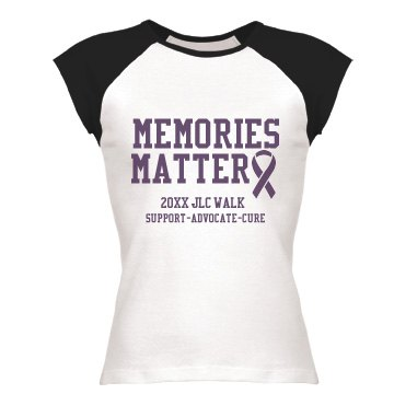 Memories Matter Junior Fit Bella 1x1 Rib Cap Sleeve Raglan Tee