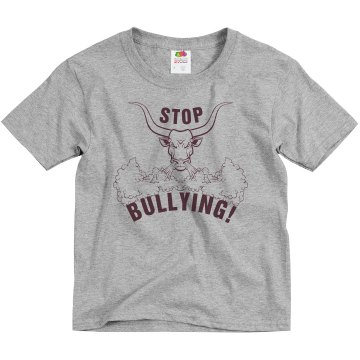 Stop Bullying Bull Youth Basic Gildan Heavy Cotton Crew Neck Tee