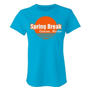 Spring Break Cancun Junior Fit Bella Crewneck Jersey Tee