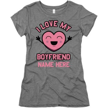 I love My Boyfriend Heart Junior Fit Bella Triblend Tee