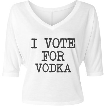 Simple Vote For Vodka Misses Bella Flowy V-Neck Half-Sleeve Tee