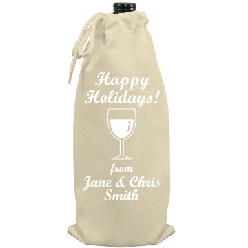 Happy Holidays Wine Gift Port Authority Wine Bag