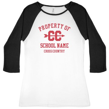 Property of Cross Country Junior Fit Bella 1x1 Rib 3&#x2F;4 Sleeve Raglan Tee