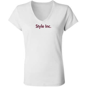 Salon Business Tee w/Back Junior Fit Bella Sheer Longer Length Rib V-Neck Tee