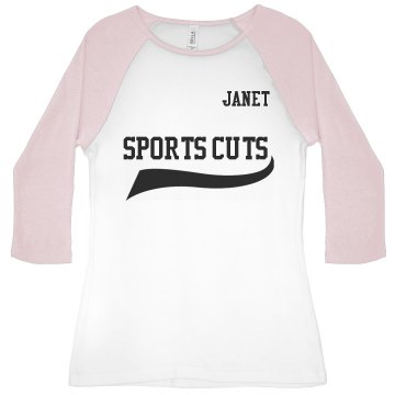 Athletic Style With Back Junior Fit Bella 1x1 Rib 3/4 Sleeve Raglan Tee