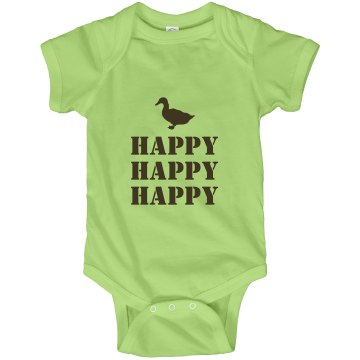Happy Happy Happy Infant Rabbit Skins Lap Shoulder Creeper