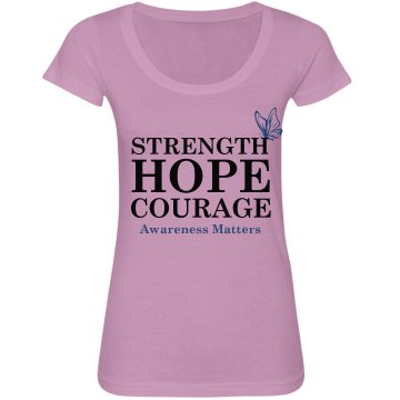 Awareness Matters Junior Fit Bella Sheer Longer Length Scoopneck Tee