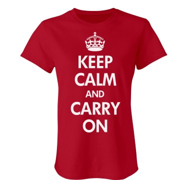 Keep Calm & Carry On Junior Fit Bella Sheer Longer Length Rib Tee