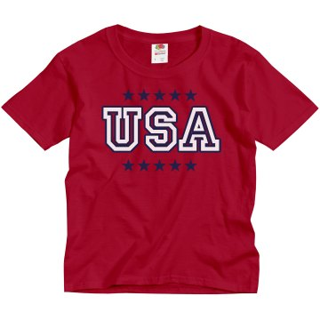 USA Track & Field Tee Youth Gildan Ultra Cotton Crew Neck Tee