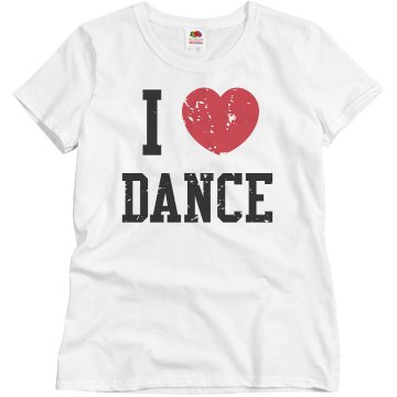 I Heart Dance Distress Misses Relaxed Fit Basic Gildan Ultra Cotton Tee