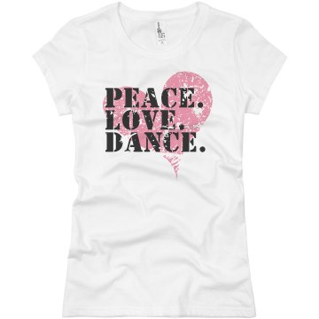 Peace Love Dance T Junior Fit Bella Crewneck Jersey Tee