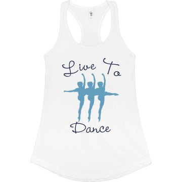 Live To Dance Tank Junior Fit Bella Sheer Longer Length Rib Racerback Tank Top