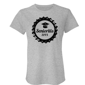 Senioritis Beer T Junior Fit Bella Crewneck Jersey Tee