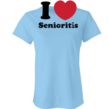 I Heart Senioritis T Junior Fit Bella Crewneck Jersey Tee