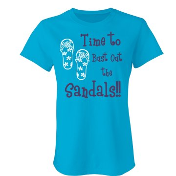 Time for sandals Junior Fit Bella Sheer Longer Length Rib Tee