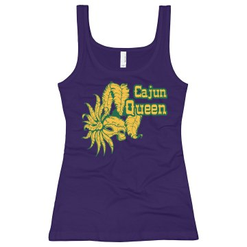 Cajun Queen Mardi Gras Junior Fit Bella Longer Length 1x1 Rib Tank Top