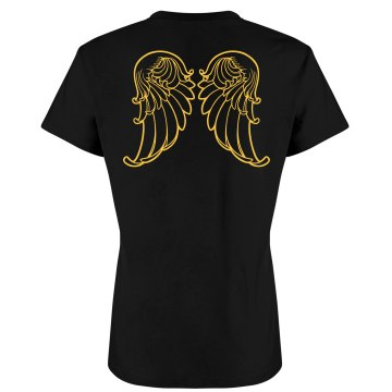 Angel Wings T-shirt Junior Fit Bella Slit V-Neck Tee