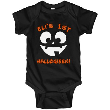 Eli&#x27;s First Halloween! Infant Rabbit Skins Lap Shoulder Creeper