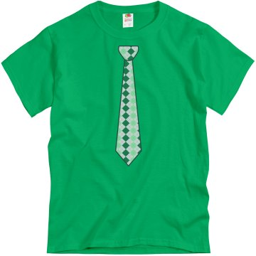 Green Neck Tie Unisex Gildan Heavy Cotton Crew Neck Tee