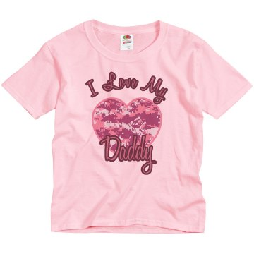 Daddy Camo Heart Youth Basic Gildan Ultra Cotton Crew Neck Tee