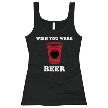 Wish You Were Beer Junior Fit Bella Sheer Longer Length Rib V-Neck Tee 