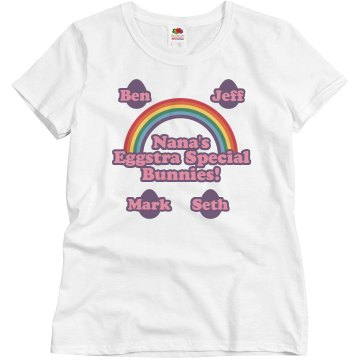 Nana&#x27;s Easter Bunnies Misses Relaxed Fit Basic Gildan Ultra Cotton Tee