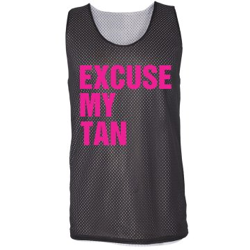 Excuse My Tan Jersey Badger Sport Mesh Reversible Tank