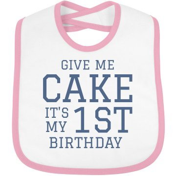 Give Me Cake Infant Bella Baby 1x1 Rib Reversible Bib