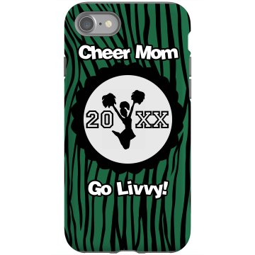 Cheer Mom School Colors Rubber iPhone 4 & 4S Case Black