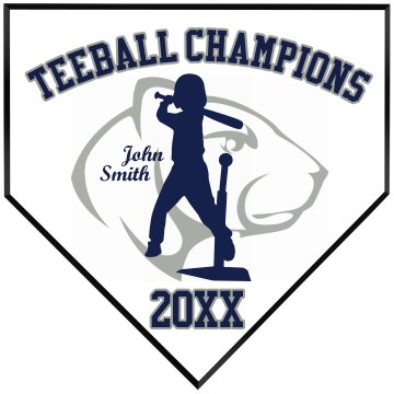 Teeball Champions Home Plate Wood Plaque