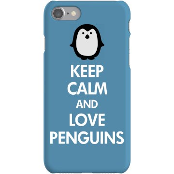 Keep Calm Love Penguins Rubber iPhone 4 & 4S Case White