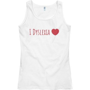 I Dyslexia Heart Junior Fit Bella Sheer Longer Length Rib Tank Top