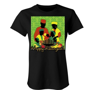 Happy Kwanzaa Misses Relaxed Fit Port Authority 3/4 Sleeve Shirt
