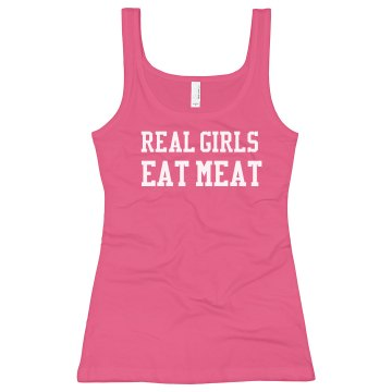 Eat Meat Real Girl Junior Fit Bella Longer Length 1x1 Rib Tank Top