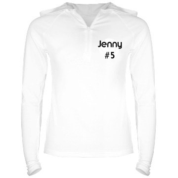 Jenny&#x27;s Volleyball Top Junior Fit Bella Long Sleeve 1&#x2F;2 Zip Hooded Pullover Tee