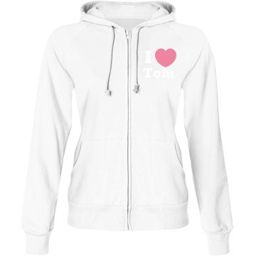 I Heart Tom w&#x2F; Back Junior Fit Bella Fleece Raglan Zip Hoodie
