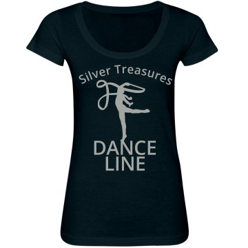 Silver Treasures Dance Junior Fit Bella Sheer Longer Length Scoopneck Tee