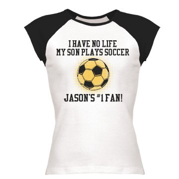 No Life Soccer Mom Junior Fit Bella 1x1 Rib Ringer Tee